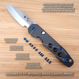 Spyderco Smock C240CFP Custom Titanium 12pc BLUE Anodized Screw Set - (No Knife)