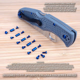 18 pc BLUE Anodized Pivot + Full Screw Set for Spyderco Endura 4 FRN (NO KNIFE)