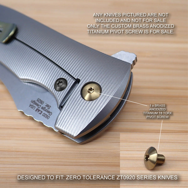Zero Tolerance ZT0920 ZT 0920 920 Titanium Pivot Screw BRASS - NO KNIFE INCLUDED