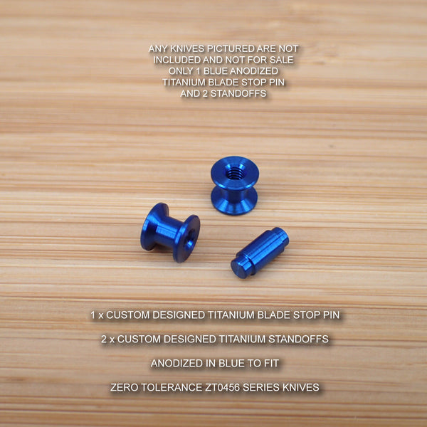 Zero Tolerance ZT0456 456 BW ZT Titanium 3pc Blade Stop Pin & Spacer Set - BLUE