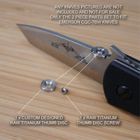 Emerson CQC-7BW CQC-7 CQC Knife 2pc Custom RAW Titanium Thumb Disc & Screw Set