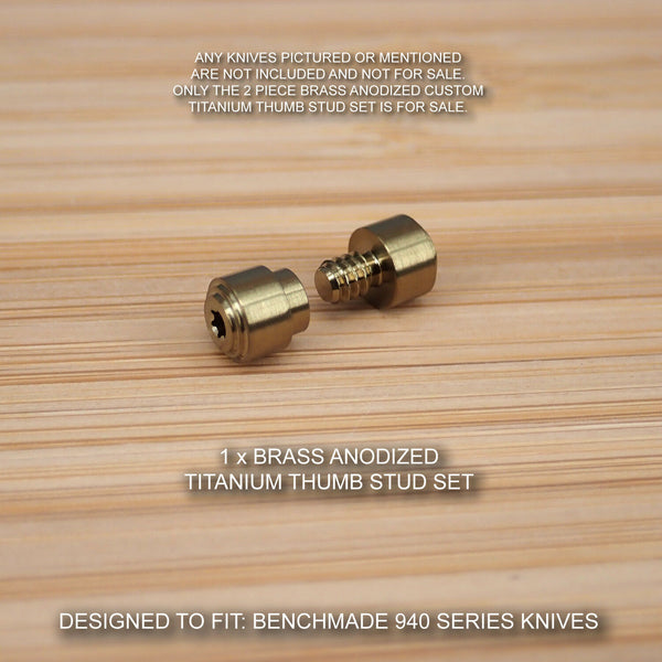 Benchmade 940-1 Osborne Knife 2PC Custom Titanium Thumb Stud Set Anodized BRASS