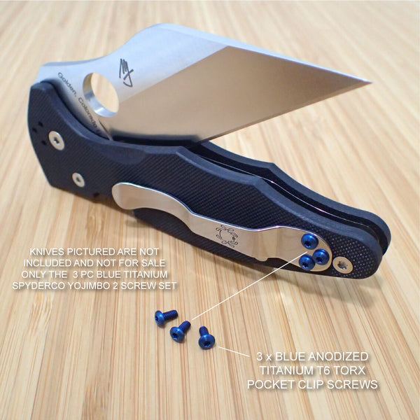 Spyderco Yojimbo 2 Custom Titanium BLUE 3pc Pocket Clip Screw Set - NO KNIFE