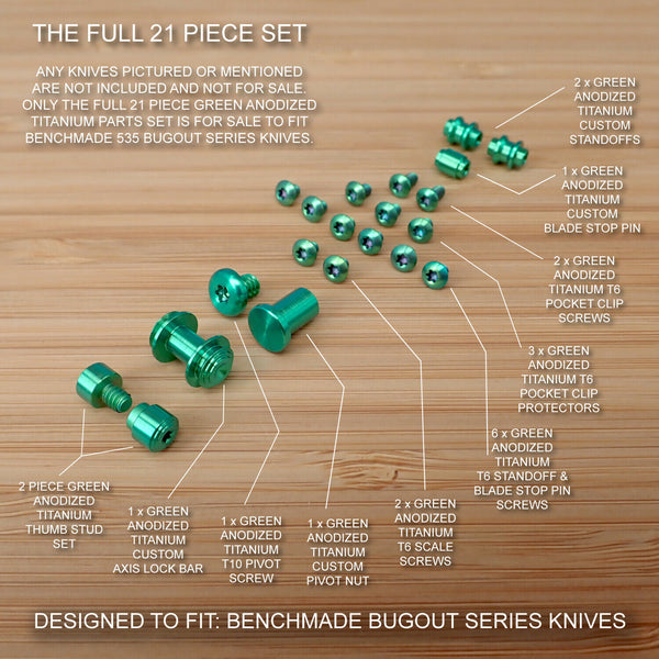Benchmade 535 BUGOUT 21pc GREEN Titanium Screw Set, Pivot, Standoff, Pin, T Stud