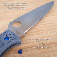 Spyderco Endura 4 Titanium Ti T8 Custom Pivot Screw BLUE - NO KNIVES INCLUDED