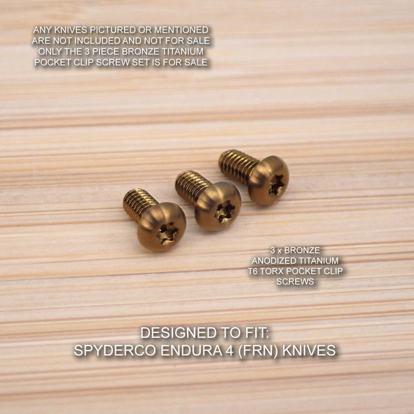 Spyderco Endura 4 FRN 3pc BRONZE Anodized Titanium Pocket Clip Torx Screw Set