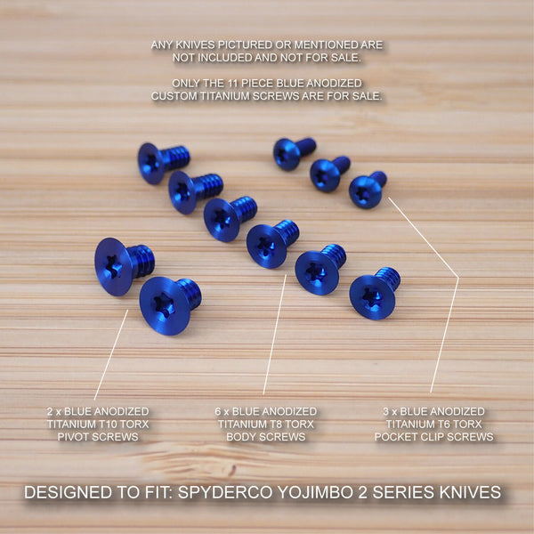 11pc BLUE Anodized Titanium Screw Set for Spyderco Yojimbo 2 (NO KNIFE) C85GP2