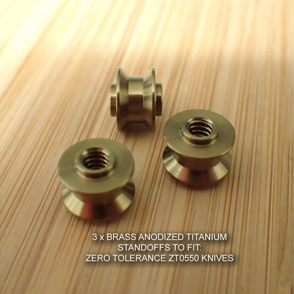 Zero Tolerance ZT0550 ZT 550 0550 Knife BRASS Anodized Titanium Ti Standoffs Set