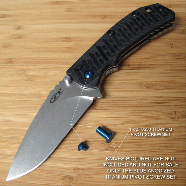 Zero Tolerance ZT0550 ZT 550 0550 Titanium Pivot Torx Screw Set Anodized BLUE