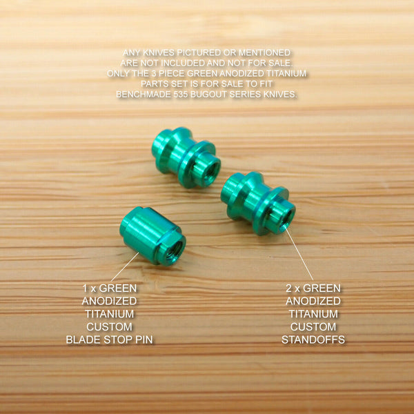 Benchmade 535 BUGOUT 3pc Titanium Spacer & Blade Stop Pin Set Anodized GREEN
