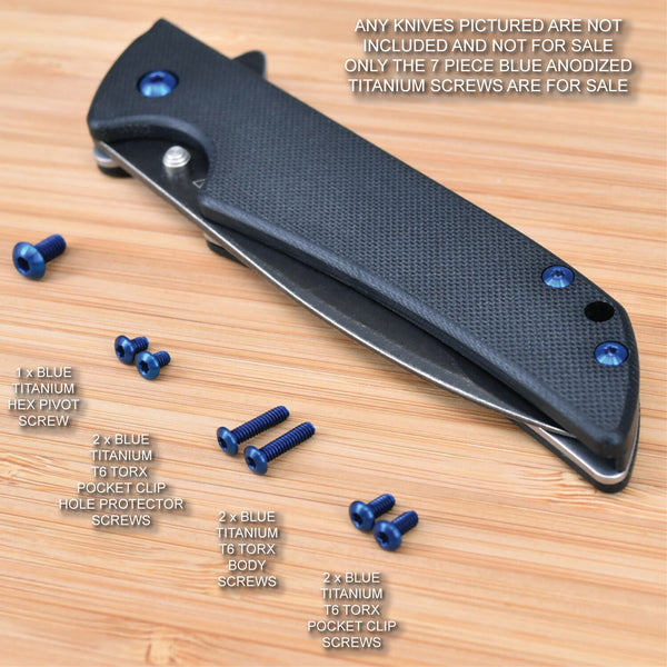 Kershaw Skyline 1760 1760BW Knife 7pc Custom Anodized Titanium Screw Set - BLUE