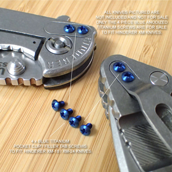 Hinderer Knife XM18 XM24 Pocket Clip & Filler Tab 4PC Titanium Screw Set - BLUE