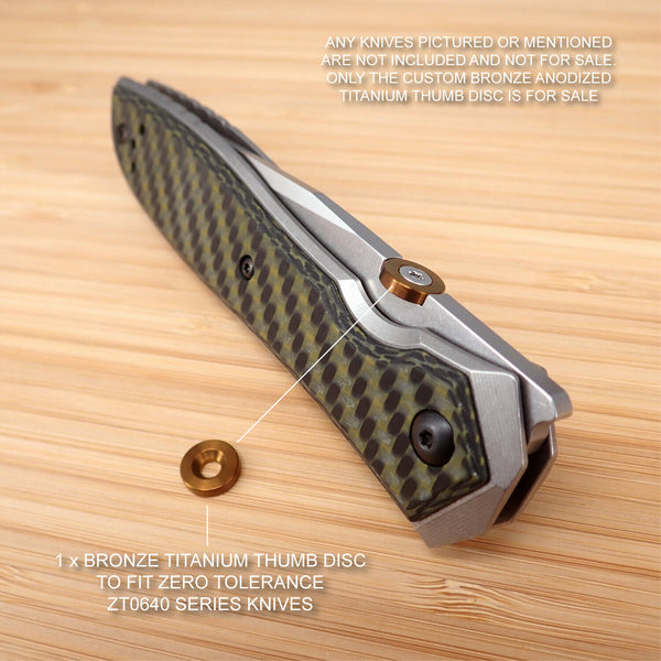 Zero Tolerance ZT0640 ZT 0640 ZT640 Custom Titanium Thumb Disc Washer - BRONZE