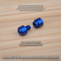 Benchmade 533 MINI BUGOUT Knife 2 PC Custom Titanium Thumb Stud Set Anodized BLUE