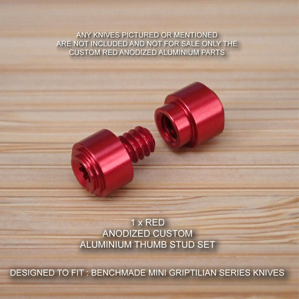 Benchmade 555 556 557 558 Mini Grip Griptilian 2pc Thumb Stud Set - Anodized RED