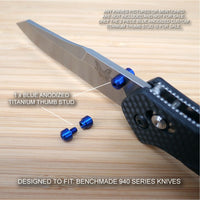 Benchmade 940-1 Osborne Knife 2 PC Custom Titanium Thumb Stud Set Anodized BLUE