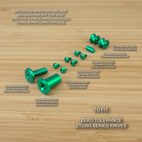 Zero Tolerance ZT0393 ZT 393 0393 Custom Titanium 11pc Screw & Pivot Set - GREEN