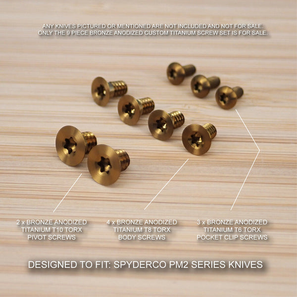 Spyderco Paramilitary PM2 Custom Titanium 9pc Anodized Screw Set - BRONZE