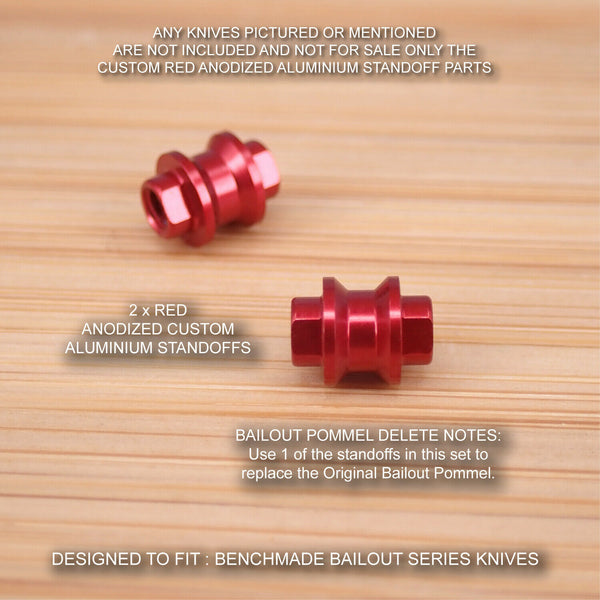 Benchmade 537 BAILOUT (Pommel Delete) Spacer / Standoff Set - Anodized RED