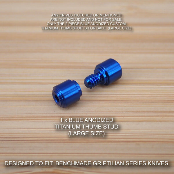 Benchmade 550 551 Griptilian 2pc (LARGE) Custom Titanium Thumb Stud Set BLUE