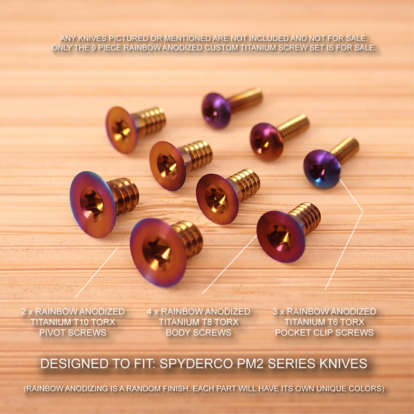 9 pc RAINBOW Anodized Titanium Screw Set for Spyderco Paramilitary PM2 (NO KNIFE)