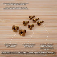 Custom Titanium 7pc BRONZE Screw Set fits Spyderco Paramilitary Para 3 PM3 Knife