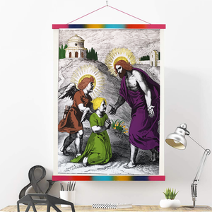 Charming Angels, Canvas Print 13x19 with Colorful Hanger Frame, Sacred Heart of Jesus, Angel Magic, Alchemy Print, Rosicrucian, Esoteric Art, Sacred Geometry Art, Free Mason, Esoterica