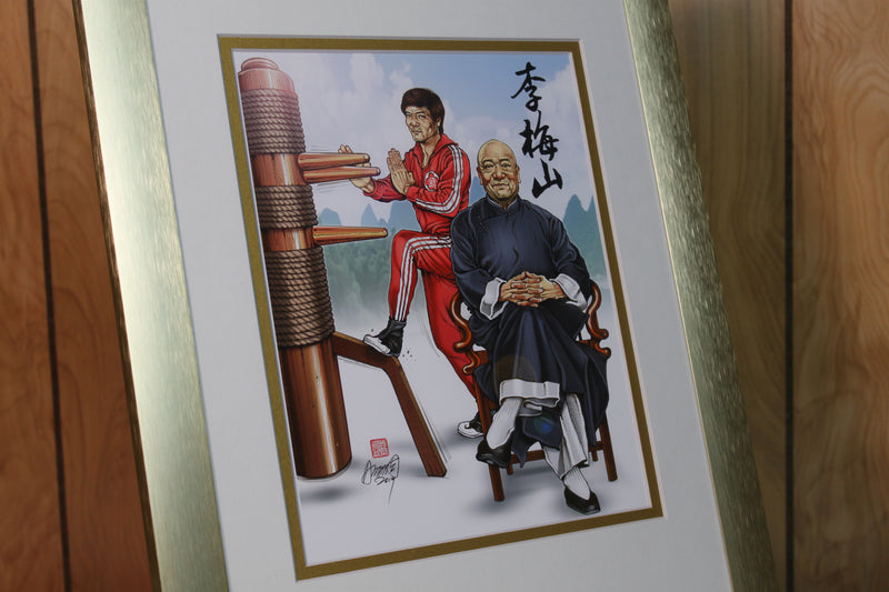 Portrait of Sifu Douglas Lee Moy Shan: Framed 11 x 14 (Satin Gold), Double Matted (White over Gold)