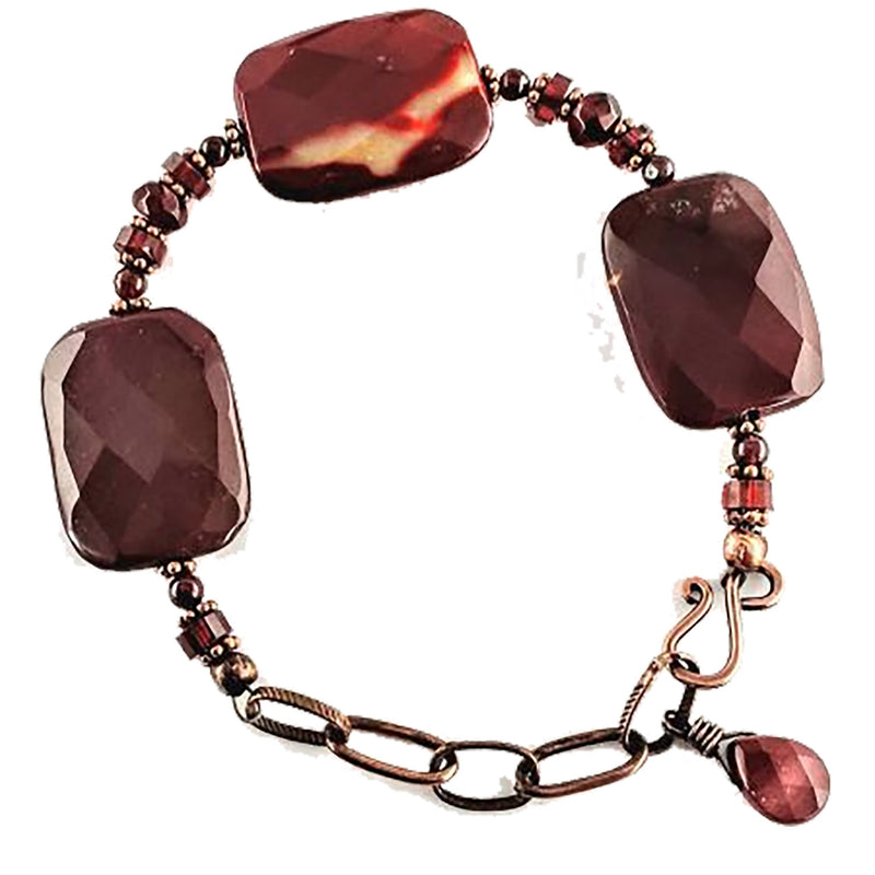 Healing Gem Bracelet, Healing Garnet, Moonkiate, Healing Jasper, Psychic Protection, Empath Protection, Energy Protection, Positive Energy