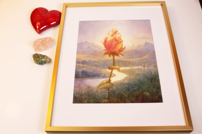 Acrylic Painting Twinflames Rose, Twin Souls in Love, Frame Size 11x14  Matted to 8x10 Painting,Twin Flame Art, Twinflame Love Spell, Love Oracle, Sacred Feminine, Esoteric Art
