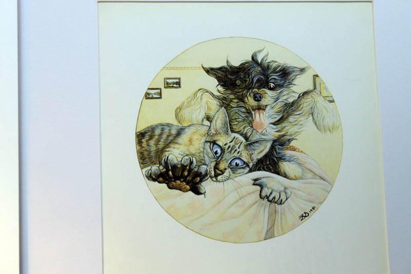 Funny Cat Art by Zoe Stokes 12 x 12 Framed Matted to 8x 8 Artwork 1982 1st Edition Book Plate - Collector Edition