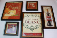 Wine and Cheese Framed Artwork Five-Piece Set, Restaurant Decor, Wine Gift Women, Wine Lover Gift, Wine Lover Office, Lounge Decor