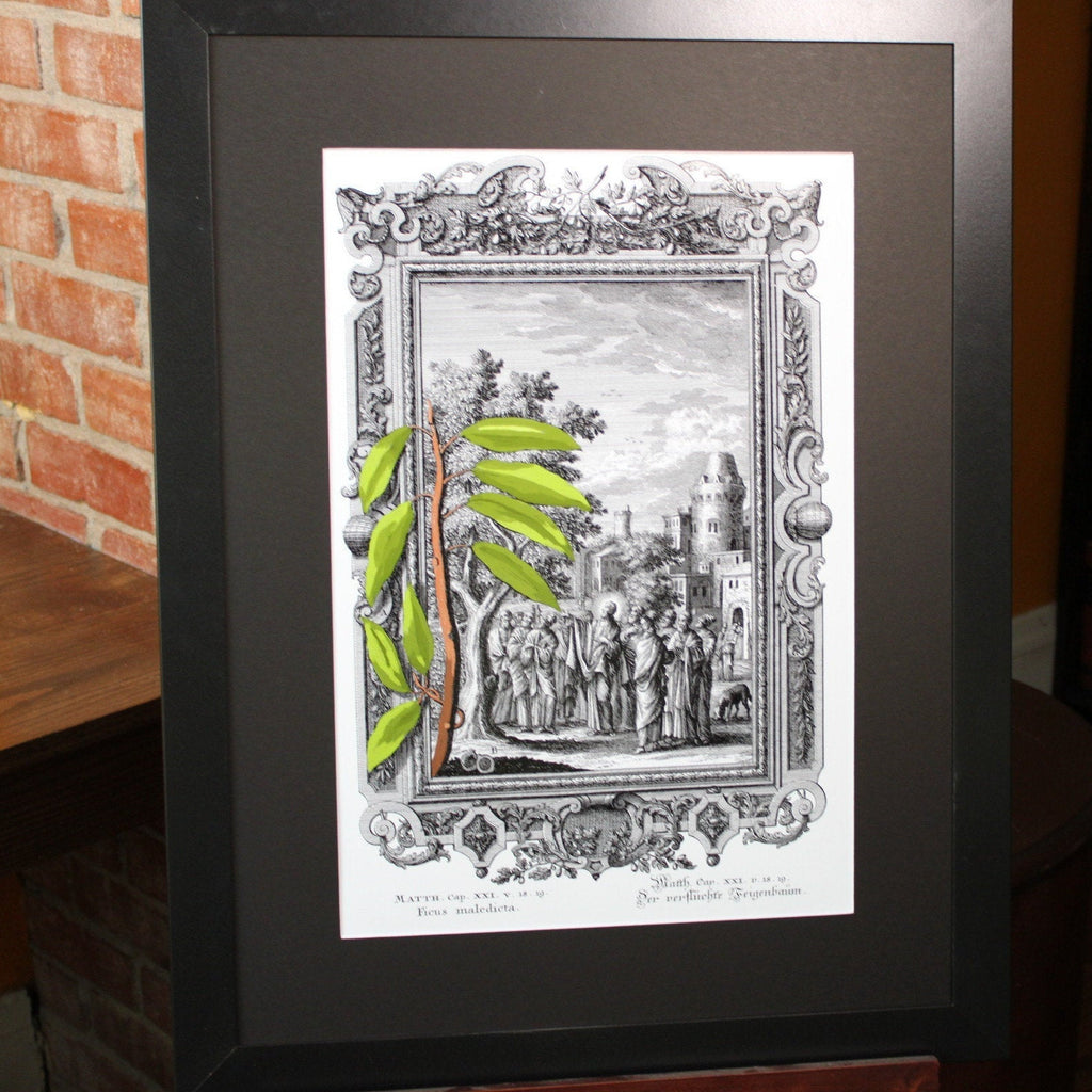 Ficus maledieta, Bible Illustrations, Devotional Decor, Frame Size 18x24 Matted to 13x19 Artwork, illuminated Manuscript, Esoteric Art, Rosicrucian, Free Mason, Sacred Geometry Art