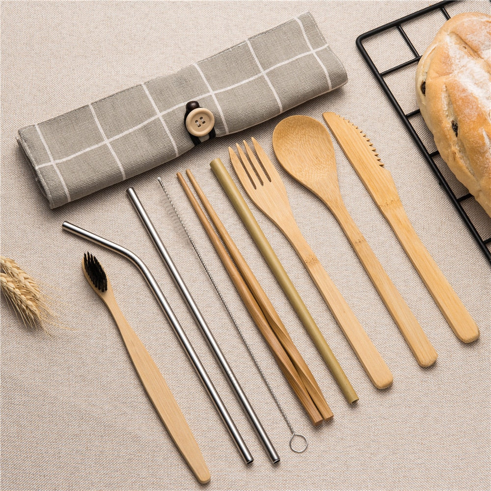 Eco Cutlery Set | Plant ∞ Bamboo | Ocean-Friendly | Greentic ✓ Plasnot X