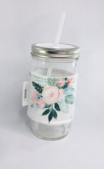 Barn wood Flowers Mason Jar Cozy Sleeves (Wide Mouth)