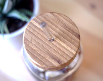 The 24 + Bamboo Drinking Lid + Glass Straw