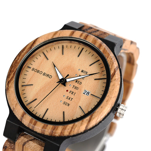 Mens Zebra and Ebony Wood Watch