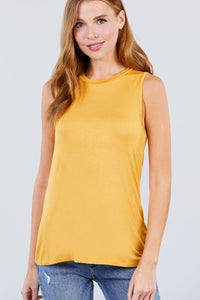 Sleeveless Round Neck Rayon Spandex Knit Top