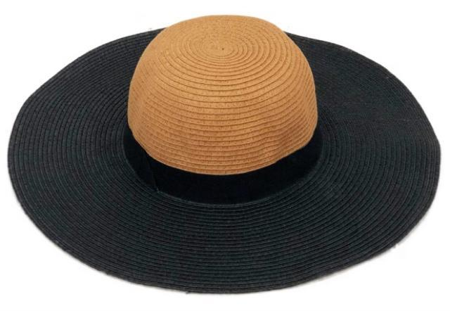 Two Tone Black Large Brim Hat