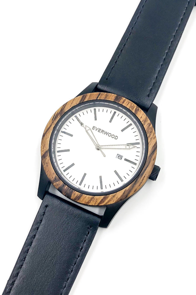 Inverness | Zebrawood | Black Leather
