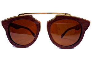 Cherry Wood Full Frame Sunglasses, Polarized with Metal Trim