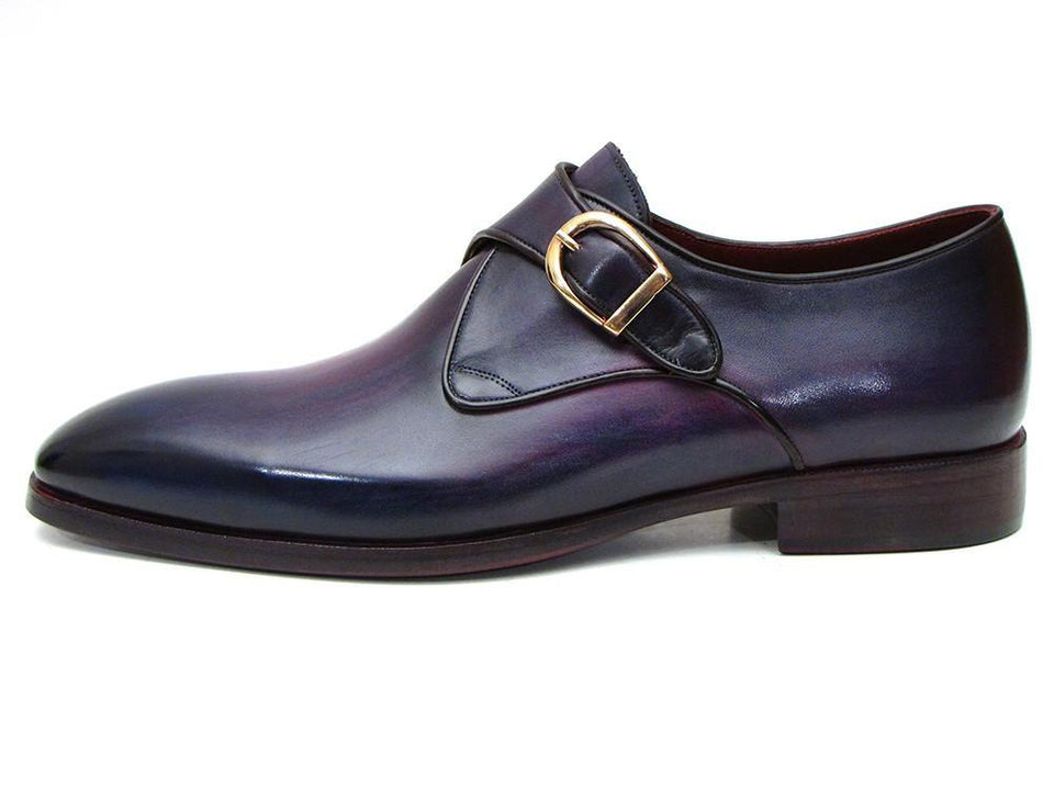 Paul Parkman Single Monkstrap Shoes Purple Leather