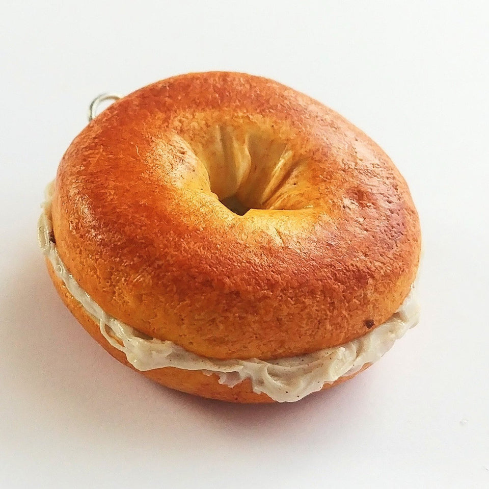 Bagel with Cream cheese Charm Food Jewelry, Miniature Food Keychain