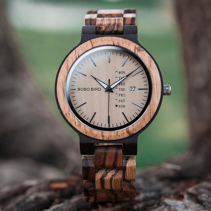 Men's Luxury Wood Watch with Date and Week Display
