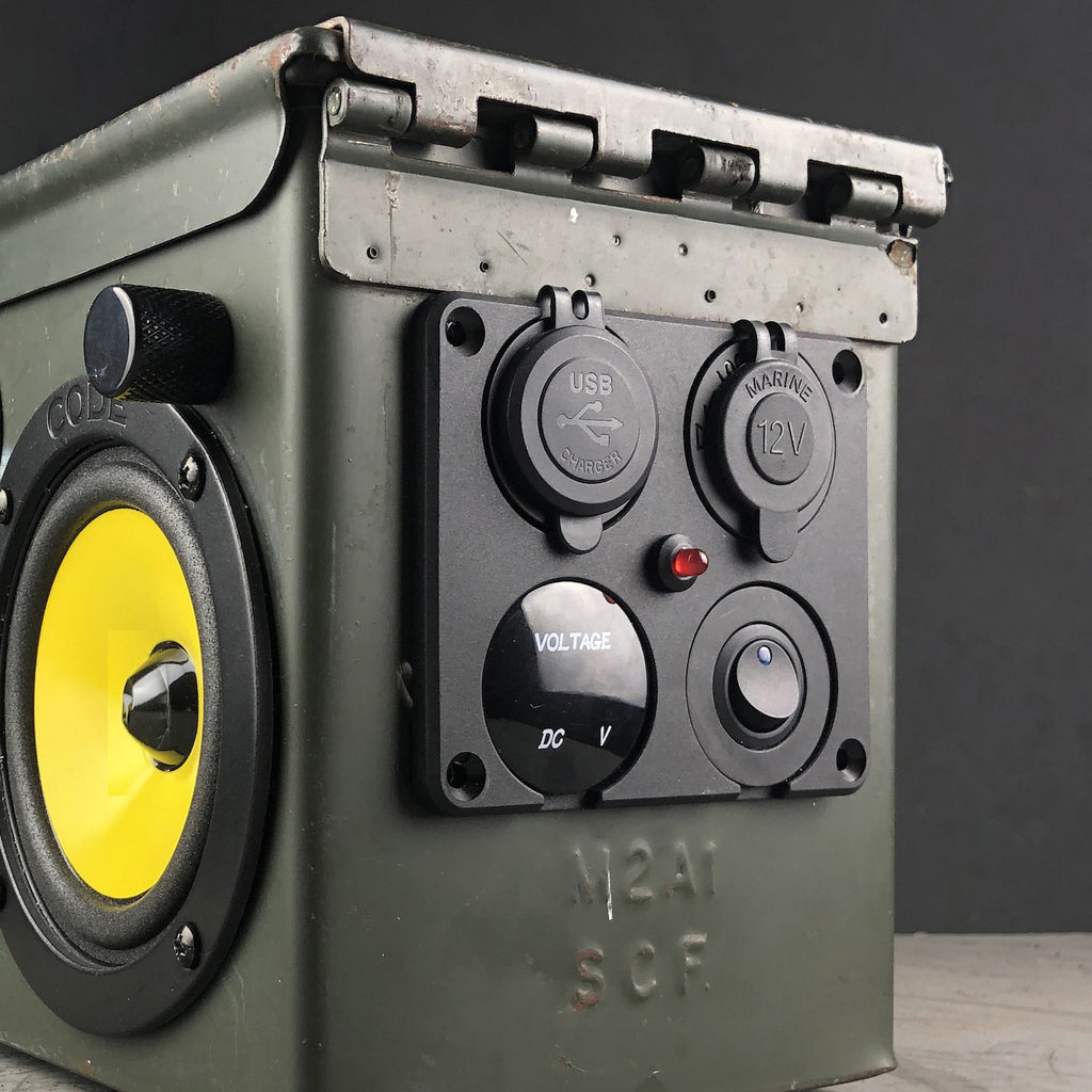 "Portable ""Ammo Can"" Speaker with Bluetooth, USB charging, rechargeable battery, and storage tray"