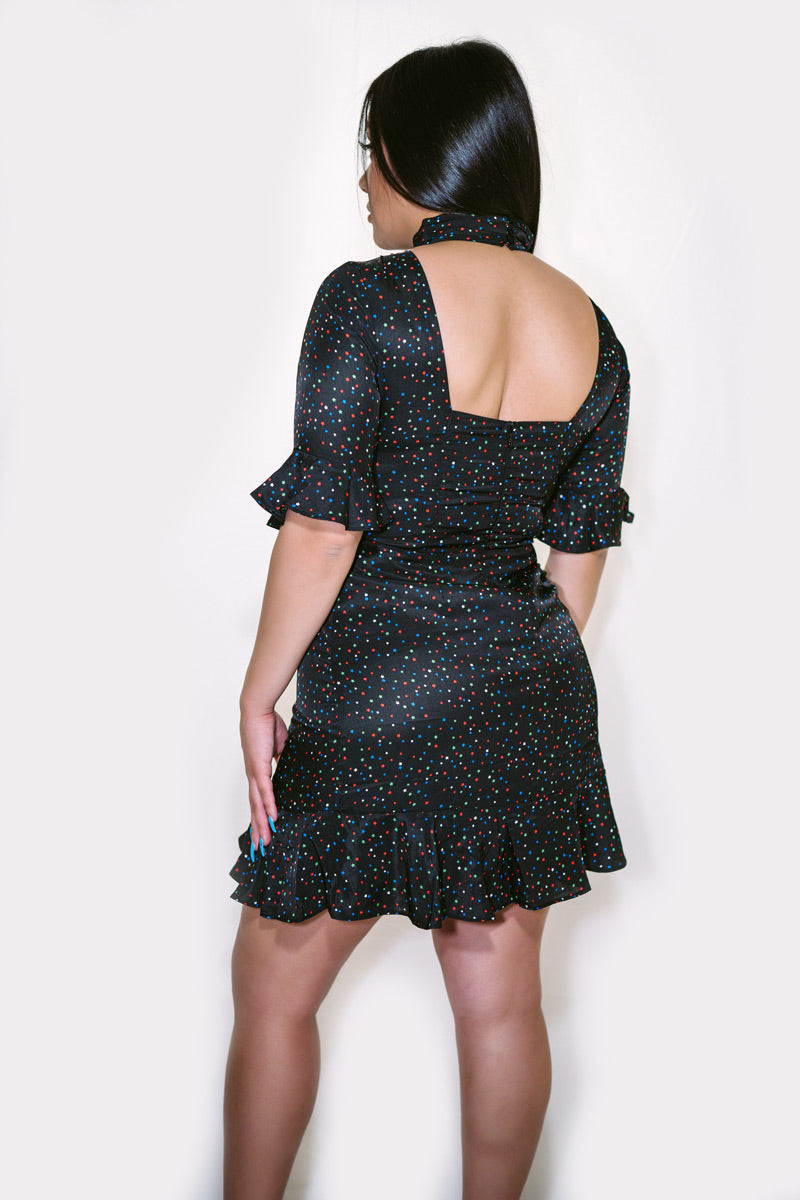 Genesis Star Print Open Back Dress