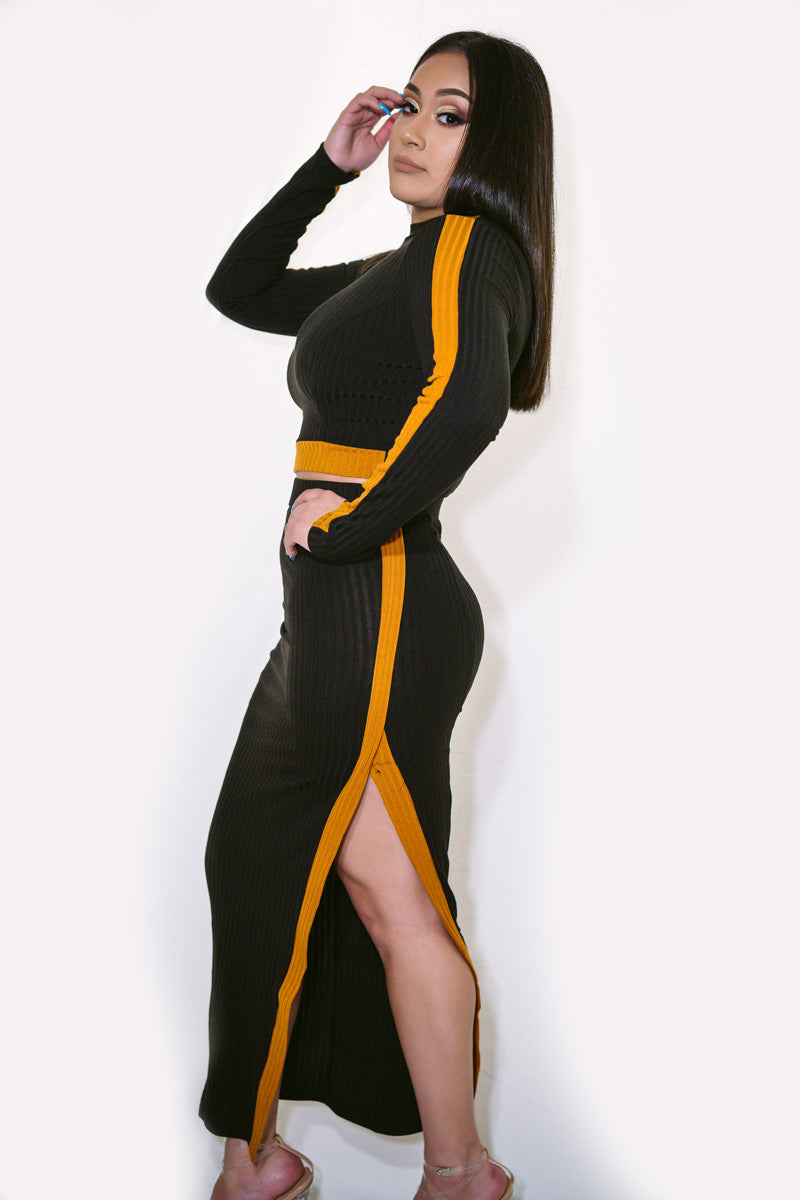 Elaine Long Sleeve Crop Top Slit Set