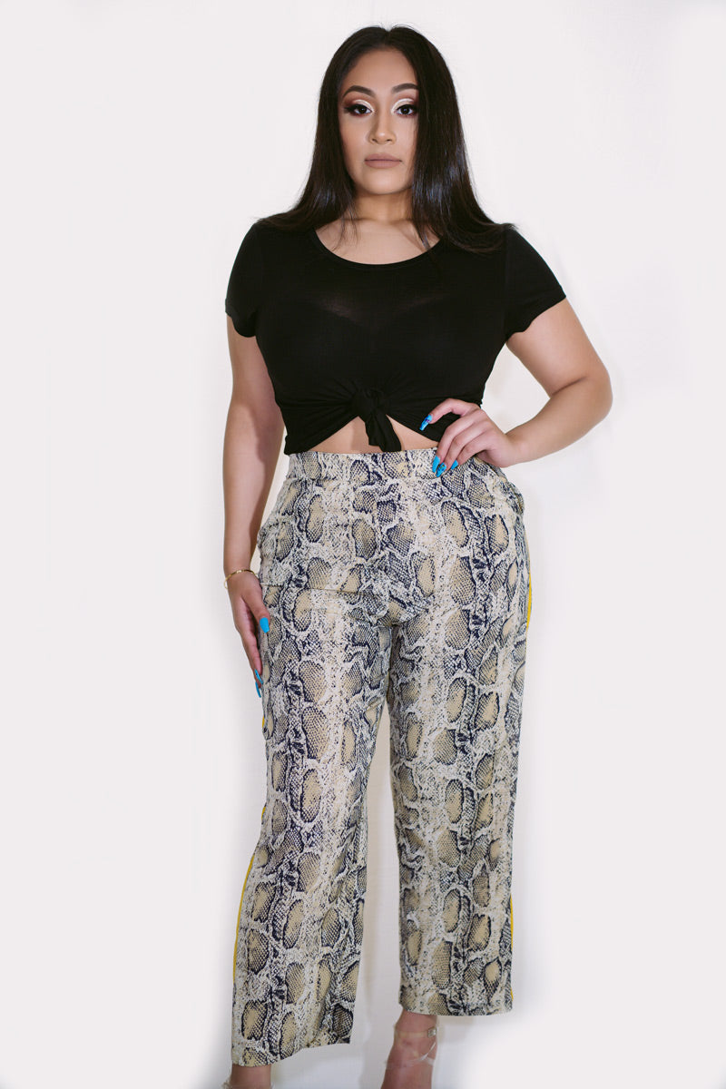 Amber Yellow Stripe Snake Pants