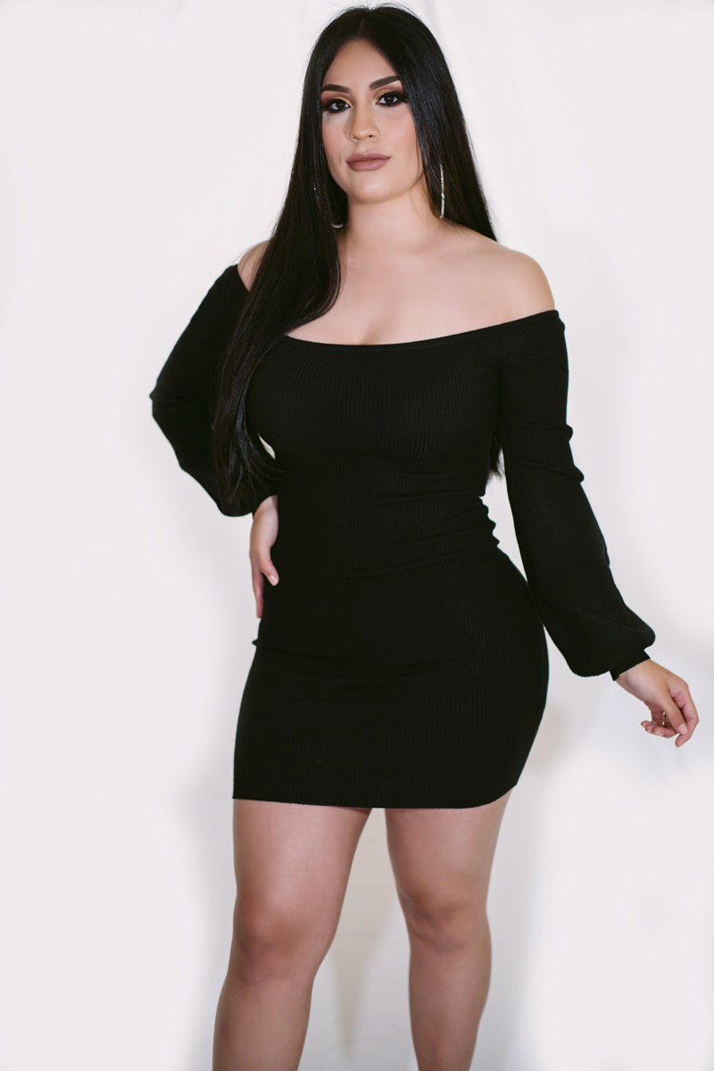 Aquarius Off Shoulder Sleeve Mini Dress