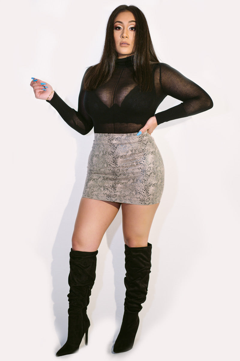 Mila Snake Print Mini Skirt